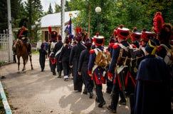 MOSKWA region - WRZESIEŃ 06: Dziejowa reenactment bitwa Borodino przy swój 203 rocznicą Zdjęcie Stock