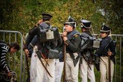 MOSKWA region - WRZESIEŃ 06: Dziejowa reenactment bitwa Borodino przy swój 203 rocznicą Obraz Royalty Free