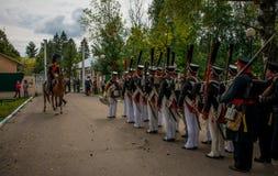 MOSKWA region - WRZESIEŃ 06: Dziejowa reenactment bitwa Borodino przy swój 203 rocznicą Zdjęcia Stock