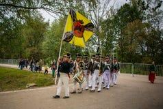 MOSKWA region - WRZESIEŃ 06: Dziejowa reenactment bitwa Borodino przy swój 203 rocznicą Obraz Stock