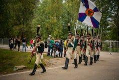 MOSKWA region - WRZESIEŃ 06: Dziejowa reenactment bitwa Borodino przy swój 203 rocznicą Obrazy Royalty Free