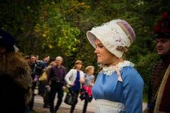 MOSKWA region - WRZESIEŃ 06: Dziejowa reenactment bitwa Borodino przy swój 203 rocznicą Fotografia Royalty Free