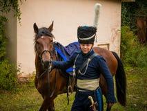 MOSKWA region - WRZESIEŃ 06: Dziejowa reenactment bitwa Borodino przy swój 203 rocznicą Zdjęcia Royalty Free