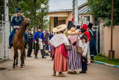 MOSKWA region - WRZESIEŃ 06: Dziejowa reenactment bitwa Borodino przy swój 203 rocznicą Obrazy Stock