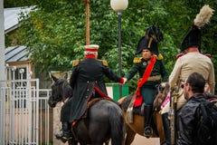 MOSKWA region - WRZESIEŃ 06: Dziejowa reenactment bitwa Borodino przy swój 203 rocznicą Fotografia Stock