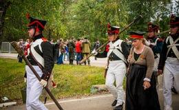 MOSKWA region - WRZESIEŃ 06: Dziejowa reenactment bitwa Borodino przy swój 203 rocznicą Zdjęcie Royalty Free