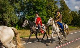 MOSKWA region - WRZESIEŃ 06: Żołnierza postój przy Borodino reenactment dziejową bitwą przy swój 203 rocznicą Zdjęcie Royalty Free