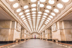 Moskwa, Rosja †'Lipiec 09, 2017: Wnętrze Elektrozavodskaya Fotografia Royalty Free