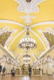 Moskwa, Rosja †'Lipiec 09, 2017: Wnętrze Komsomolskaya Metr Obrazy Royalty Free