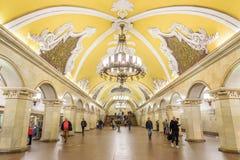 Moskwa, Rosja †'Lipiec 09, 2017: Wnętrze Komsomolskaya Metr Zdjęcia Stock