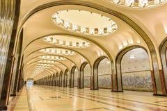 Moskwa, Rosja †'Lipiec 09, 2017: Wnętrze Mayakovskaya metro Fotografia Stock