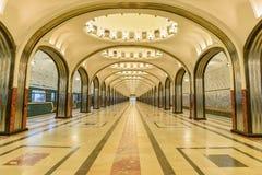Moskwa, Rosja †'Lipiec 09, 2017: Wnętrze Mayakovskaya metro Zdjęcie Royalty Free