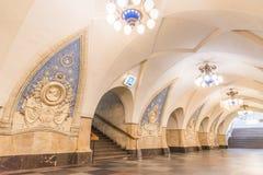 Moskwa, Rosja †'Lipiec 09, 2017: Wnętrze Taganskaya metro S Fotografia Stock