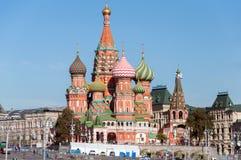 MOSKWA, ROSJA - 21 09 2015 Świątobliwa basil katedra i Vasilevsky spadek plac czerwony w Moskwa Kremlin, Obrazy Stock