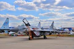MOSKWA ROSJA, AUG, - 2015: myśliwa MiG-29 Fulcrum prese Zdjęcie Stock