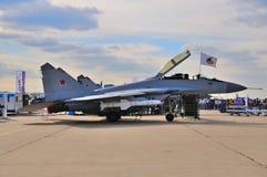 MOSKWA ROSJA, AUG, - 2015: myśliwa MiG-29 Fulcrum prese Obraz Stock