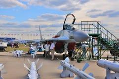 MOSKWA ROSJA, AUG, - 2015: myśliwa MiG-29 Fulcrum prese Zdjęcia Royalty Free