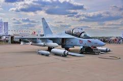 MOSKWA ROSJA, AUG, - 2015: szturmowego samolotu Yak-130 mitynka presen Obrazy Royalty Free