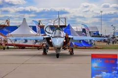 MOSKWA ROSJA, AUG, - 2015: szturmowego samolotu Yak-130 mitynka presen Obraz Royalty Free