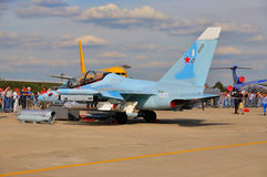 MOSKWA ROSJA, AUG, - 2015: szturmowego samolotu Yak-130 mitynka presen Obrazy Stock
