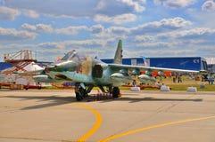 MOSKWA ROSJA, AUG, - 2015: szturmowy samolot Su-25 Frogfoot presen Obrazy Stock
