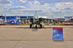 MOSKWA ROSJA, AUG, - 2015: szturmowy samolot Su-25 Frogfoot presen Zdjęcia Stock