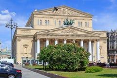 Moskwa Rosja, Czerwiec, - 03, 2018: Budynek Bolshoi Theatre w Moskwa na niebieskiego nieba tle Fotografia Stock
