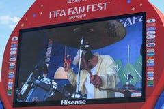 Moskwa Rosja, Czerwiec, - 28, 2018: Ekran główny monitor na FIFA fan Fest 2018 na Wróblich wzgórzach w Moskwa Fotografia Royalty Free