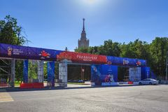 Moskwa Rosja, Czerwiec, - 02, 2018: Fan strefa festiwal fan FIFA fan Fest 2018 na Wróblich wzgórzach w Moskwa Zdjęcia Stock