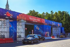 Moskwa Rosja, Czerwiec, - 02, 2018: Fan strefa festiwal fan FIFA fan Fest 2018 na Wróblich wzgórzach w Moskwa Obraz Royalty Free