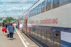 Moskwa Rosja, Czerwiec, - 14 2016 kondygnacja pociągu liczby 45 trasa od Moskwa Voronezh przy Kazan stacją Obrazy Stock