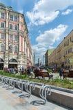 Moskwa Rosja, Czerwiec, - 02 2016 Myasnitskaya ulica - ulica w dziejowym centrum miasto Obraz Royalty Free