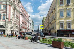 Moskwa Rosja, Czerwiec, - 02 2016 Myasnitskaya ulica - ulica w dziejowym centrum miasto Obraz Stock