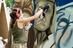 Moskwa Rosja, Czerwiec, - 18, 2016 Uliczni artyści współzawodniczą w mistrzostwie Biennale Obrazy Royalty Free