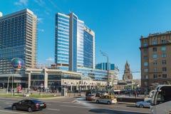 Moskwa, Rosja -03 2016 Czerwiec Widok Novy Arbat, Lotte hotel i Novinsky bulwar, Obrazy Stock