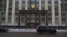 MOSKWA ROSJA, GRUDZIEŃ, - 6: Budynek stan duma federacja rosyjska w zimie zdjęcie wideo