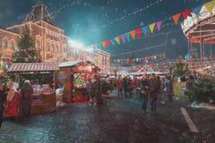 Moskwa Rosja, Grudzień, - 5, 2017: Choinka Handlowego domu dziąsło na placu czerwonym w Moskwa, Rosja Fotografia Stock