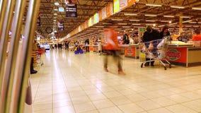 MOSKWA ROSJA, GRUDZIEŃ, -, 23, 2016 Zawody międzynarodowi łańcuszkowy supermarket Globus Kasa teren Zdjęcie Royalty Free