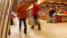 MOSKWA ROSJA, GRUDZIEŃ, -, 23, 2016 Zawody międzynarodowi łańcuszkowy supermarket Globus Kasa teren Fotografia Stock