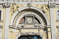 Moskwa, Rosja, Kwiecień, 15, 2017 Czerep główny budynek kompleks Sandunovsky kąpać się przy Neglinnaya, 14 fotografia royalty free