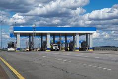 MOSKWA ROSJA, KWIECIEŃ, - 23, 2017: punkt przyjęcie pieniądze dla autostrady płatnej obraz royalty free