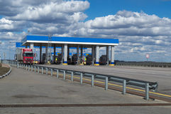 MOSKWA ROSJA, KWIECIEŃ, - 23, 2017: punkt przyjęcie pieniądze dla autostrady płatnej zdjęcie royalty free