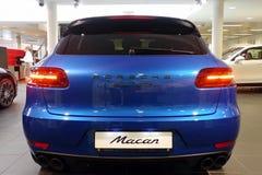 Moskwa Rosja, Kwiecień, - 22, 2019: Tylny widok, bagażnika dekiel, tylni zderzak, taillights premii Porsche Macan GTS błękitny sk obraz royalty free