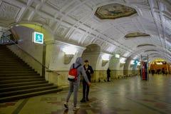 MOSKWA, ROSJA KWIECIEŃ, 29, 2018: Belorusskaya stacja metru w Moskwa, Rosja Stacja jest na Koltsevaya linii Fotografia Stock