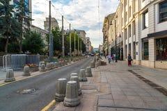 Moskwa Rosja, Lipiec, - 25 2017 Bolshaya Dmitrovka - ulica w dziejowym centrum miasto Zdjęcia Royalty Free