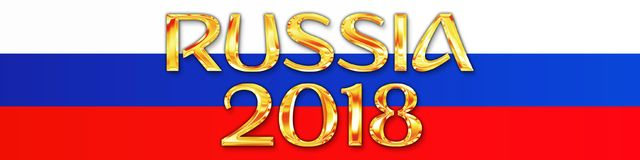 MOSKWA, ROSJA, Lipiec 2018 - Rosja 2018 i rosjanin flaga Obraz Stock