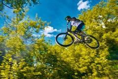 MOSKWA ROSJA, LIPIEC, - 06, 2017: Komarnica na rowerze górskim Fotografia Royalty Free