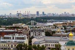 Moskwa Rosja, Lipiec, - 25 2017 Miasto krajobraz centrum i Krymski most Zdjęcia Royalty Free