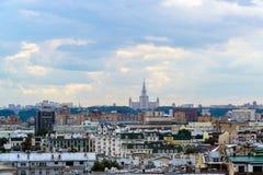Moskwa Rosja, Lipiec, - 25 2017 Miasto krajobraz centrum z Moskwa stanu uniwersytetem Fotografia Stock
