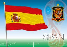 MOSKWA, ROSJA, Lipiec 2018 - Rosja 2018 pucharów świata logo i flaga Hiszpania Fotografia Royalty Free